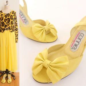 Vintage yellow sandal real leather ribbon shoes 6B